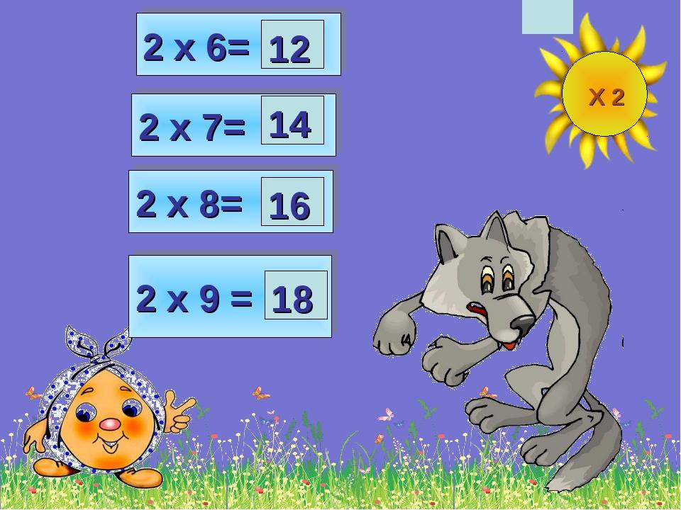 2 х 8= 2 х 6= 2 х 7= 2 х 9 = 12 14 18 16