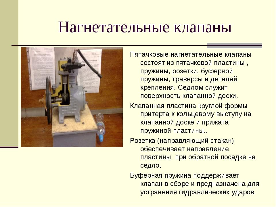 Нагнетательные клапаны Пятачковые нагнетательные клапаны состоят из пятачково...