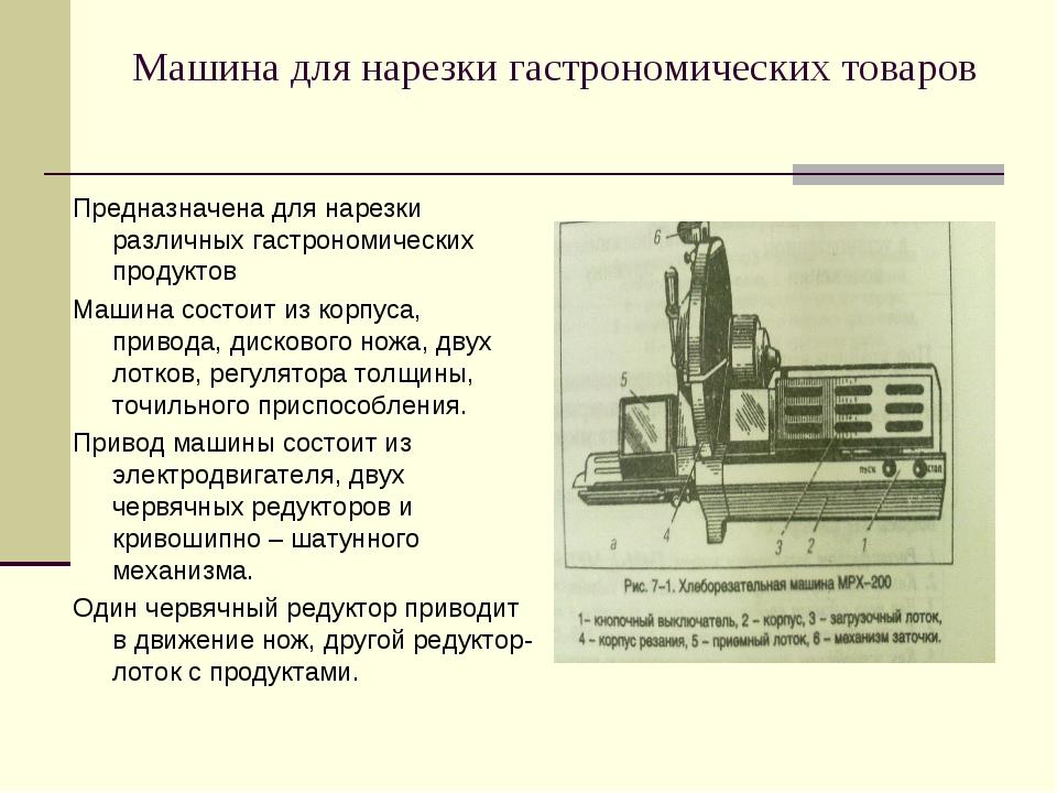 Машина для нарезки гастрономических товаров Предназначена для нарезки различн...
