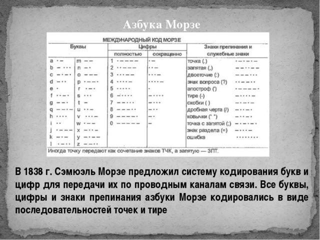 Азбука Морзе В 1838 г. Сэмюэль Морзе предложил систему кодирования букв и циф...
