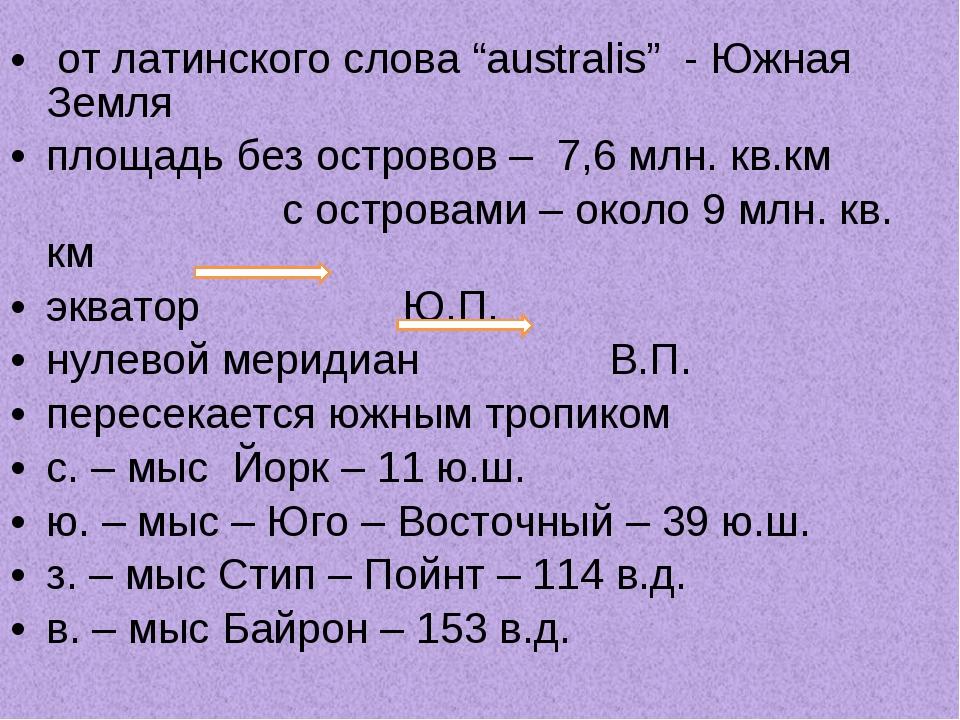 """от латинского слова """"australis"""" - Южная Земля площадь без островов – 7,6 млн..."""