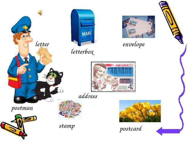 letterbox postman postcard stamp envelope letter address