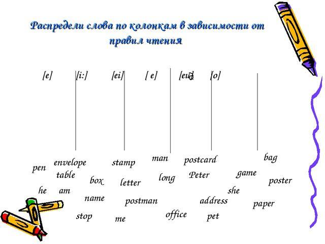 Распредели слова по колонкам в зависимости от правил чтения [e] [i:] [ei] [ e...