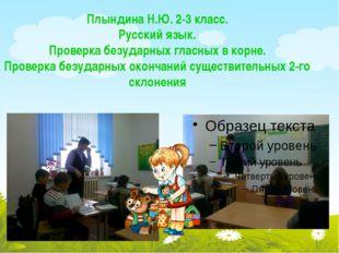 Плындина Н.Ю. 2-3 класс. Русский язык. Проверка безударных гласных в корне. П