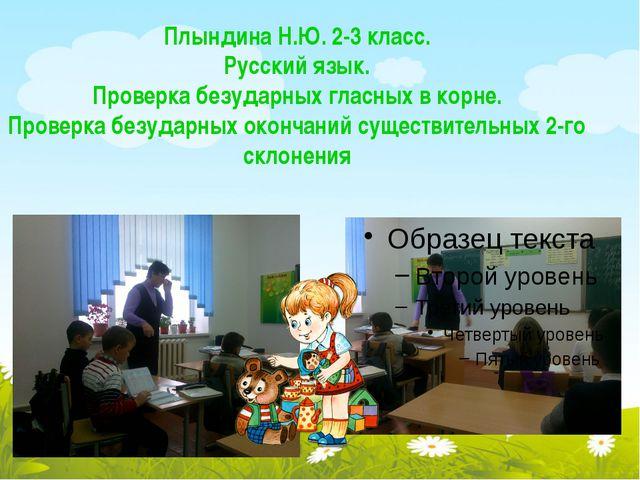 Плындина Н.Ю. 2-3 класс. Русский язык. Проверка безударных гласных в корне. П...