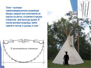 Типи —шалаши североамериканских индейцев. Шкуры зверей они натягивали на карк
