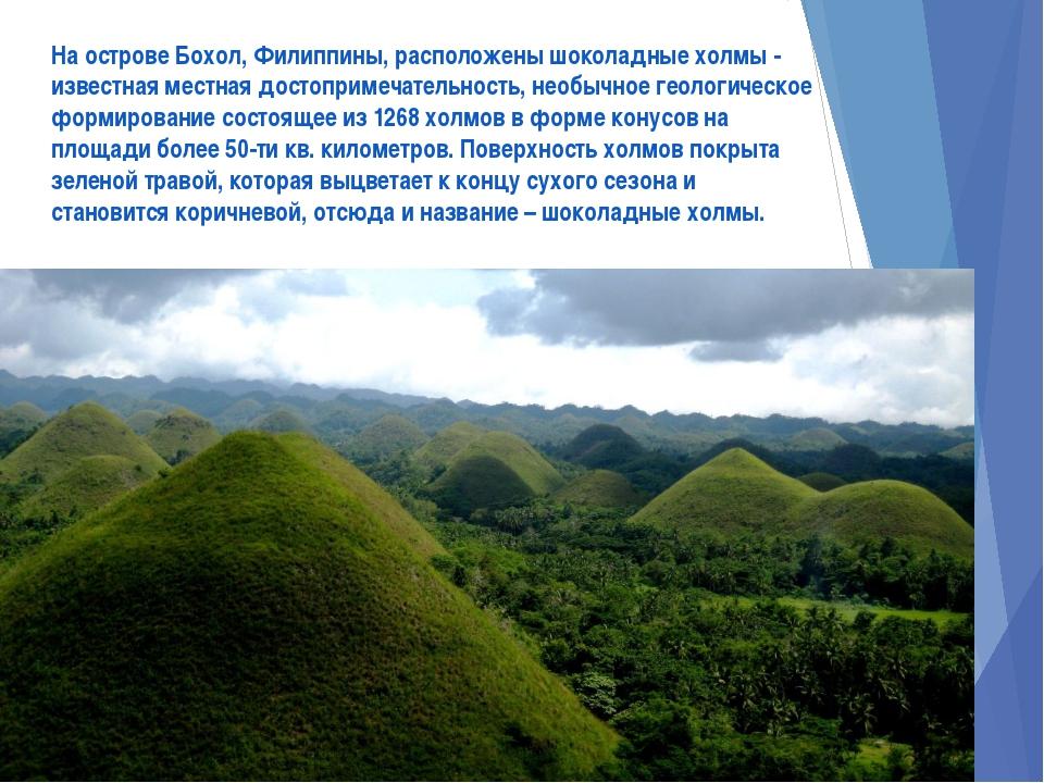 На острове Бохол, Филиппины, расположены шоколадные холмы - известная местная...