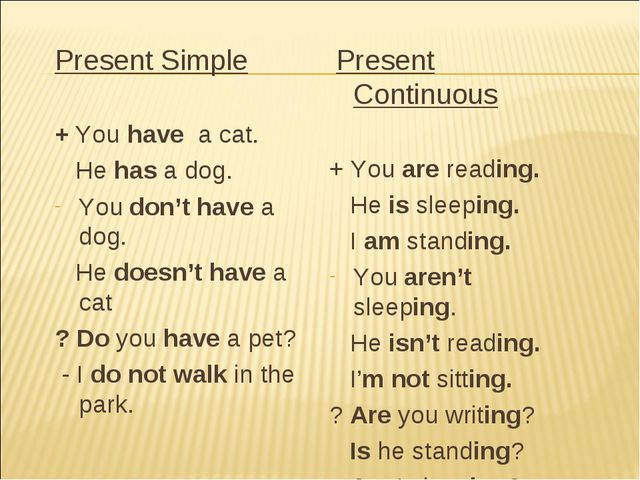 Present Simple + You have a cat. He has a dog. You don't have a dog. He doesn...