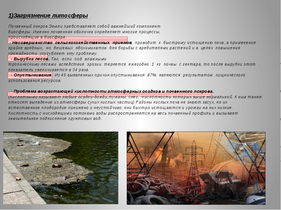 1)Загрязнение литосферы  Почвенный покров Земли представляет собой важнейший...