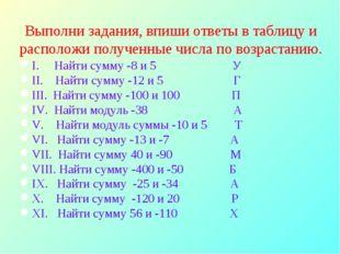 Выполни задания, впиши ответы в таблицу и расположи полученные числа по возра