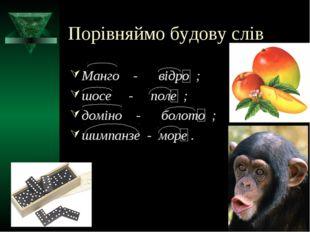Порівняймо будову слів Манго - відро ; шосе - поле ; доміно - болото ; шимпан