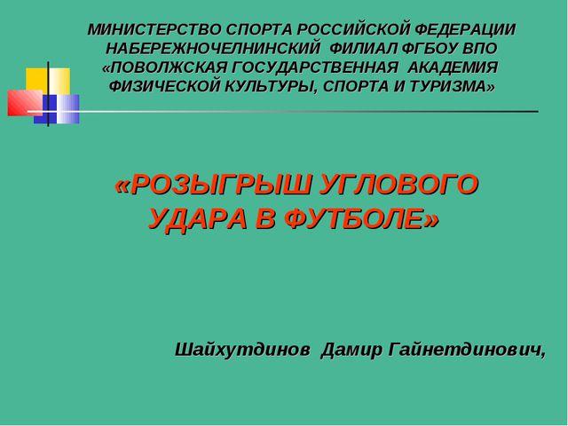 Шайхутдинов Дамир Гайнетдинович, МИНИСТЕРСТВО СПОРТА РОССИЙСКОЙ ФЕДЕРАЦИИ НАБ...