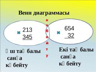 213 345 654 32 Венн диаграммасы Үш таңбалы санға көбейту Екі таңбалы санға кө