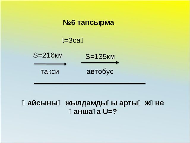 t=3сағ S=216км S=135км Қайсының жылдамдығы артық және қаншаға U=? такси автоб...