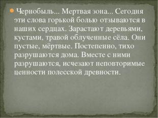 Чернобыль... Мертвая зона... Сегодня эти слова горькой болью отзываются в наш
