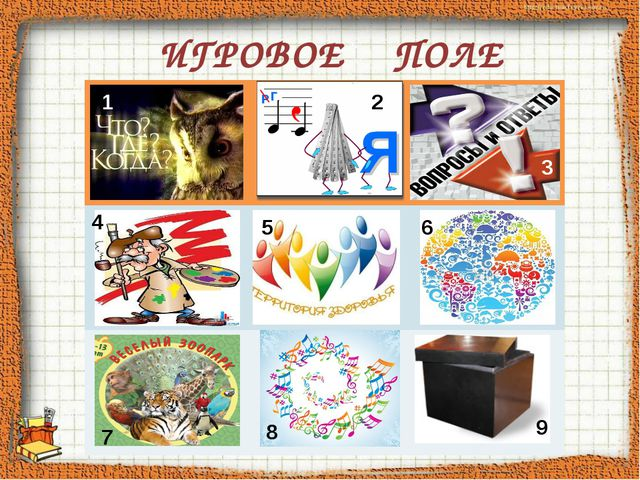 ИГРОВОЕ ПОЛЕ 1 2 7 8 9 4 5 6 3