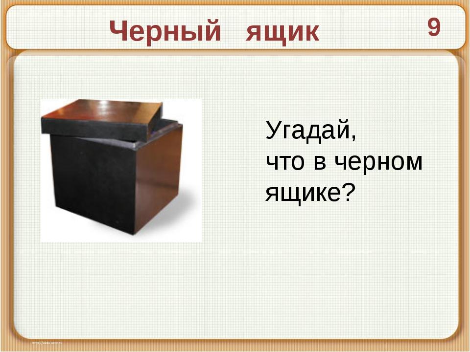 Черный ящик 9 Угадай, что в черном ящике?