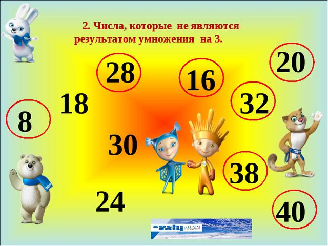 2. Числа, которые не являются результатом умножения на 3. 8 18 28 24 16 32 3...