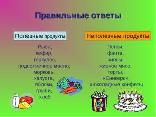 Правильные ответы Полезные продукты Неполезные продукты Рыба, кефир, геркулес