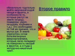 Второе правило обязательно тщательно мойте кипяченой водой овощи и фрукты, в