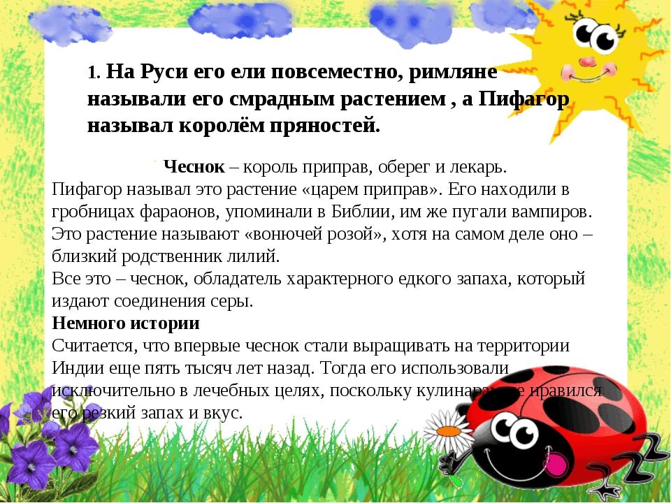 1. На Руси его ели повсеместно, римляне называли его смрадным растением , а...