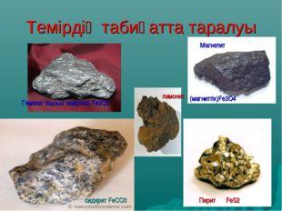 Темірдің табиғатта таралуы Гематит (қызыл теміртас) Fe2O3 сидерит FeСO3 Пирит