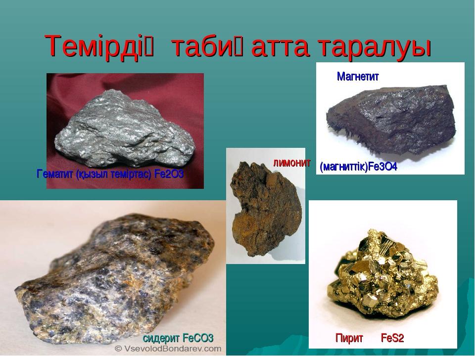 Темірдің табиғатта таралуы Гематит (қызыл теміртас) Fe2O3 сидерит FeСO3 Пирит...