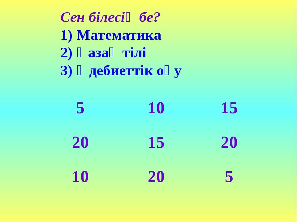 Сен білесің бе? 1) Математика 2) Қазақ тілі 3) Әдебиеттік оқу 51015 20152...