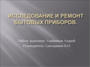Работу выполнил: Алейников Андрей Руководитель: Сангаджиев В.Н.