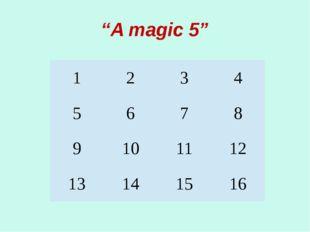 """""""A magic 5"""" 1 2 3 4 5 6 7 8 9 10 11 12 13 14 15 16"""
