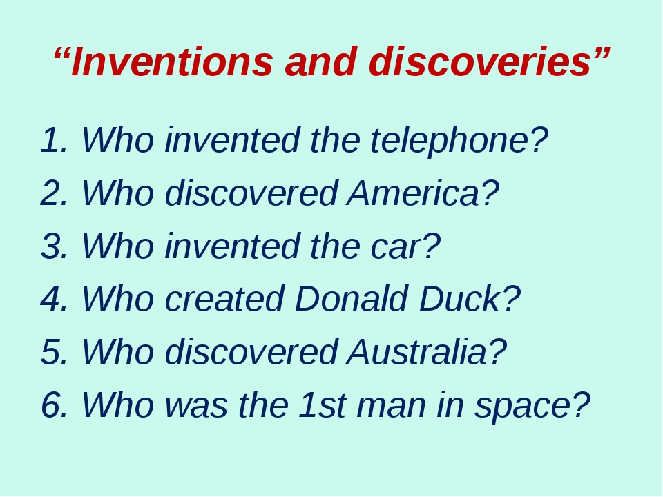 """""""Inventions and discoveries"""" 1. Who invented the telephone? 2. Who discovered..."""
