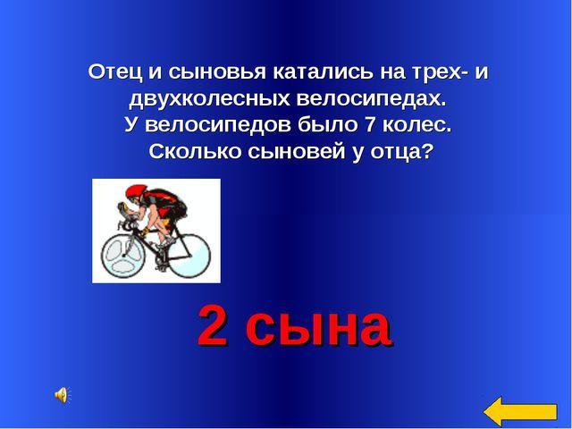 Отец и сыновья катались на трех- и двухколесных велосипедах. У велосипедов б...