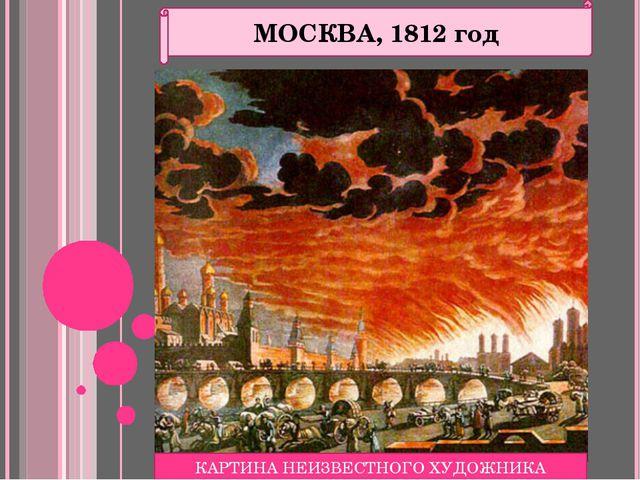 МОСКВА, 1812 год КАРТИНА НЕИЗВЕСТНОГО ХУДОЖНИКА