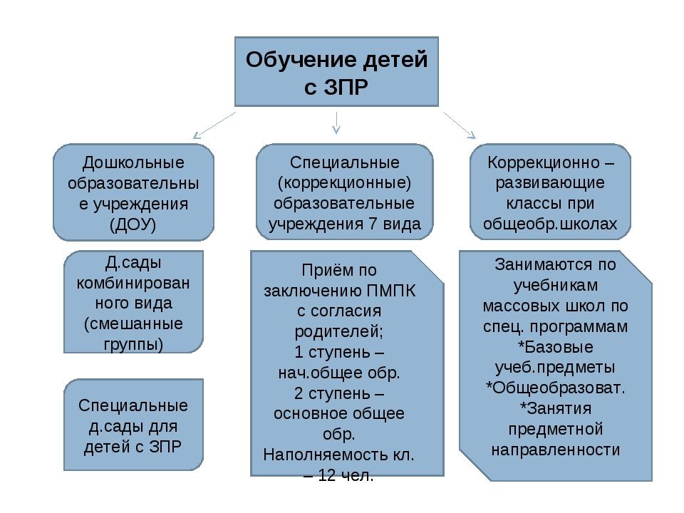 Обучение детей с ЗПР Дошкольные образовательные учреждения (ДОУ) Специальные...