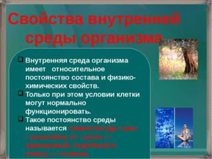 Свойства внутренней среды организма Внутренняя среда организма имеет относите