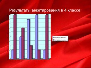 Результаты анкетирования в 4 классе