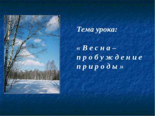 Тема урока: « В е с н а – п р о б у ж д е н и е п р и р о д ы »
