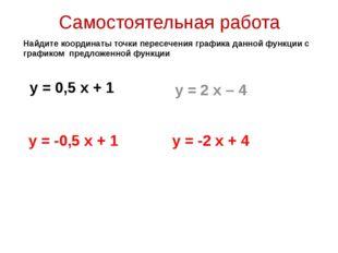 Самостоятельная работа у = 0,5 х + 1 у = 2 х – 4 Найдите координаты точки пер