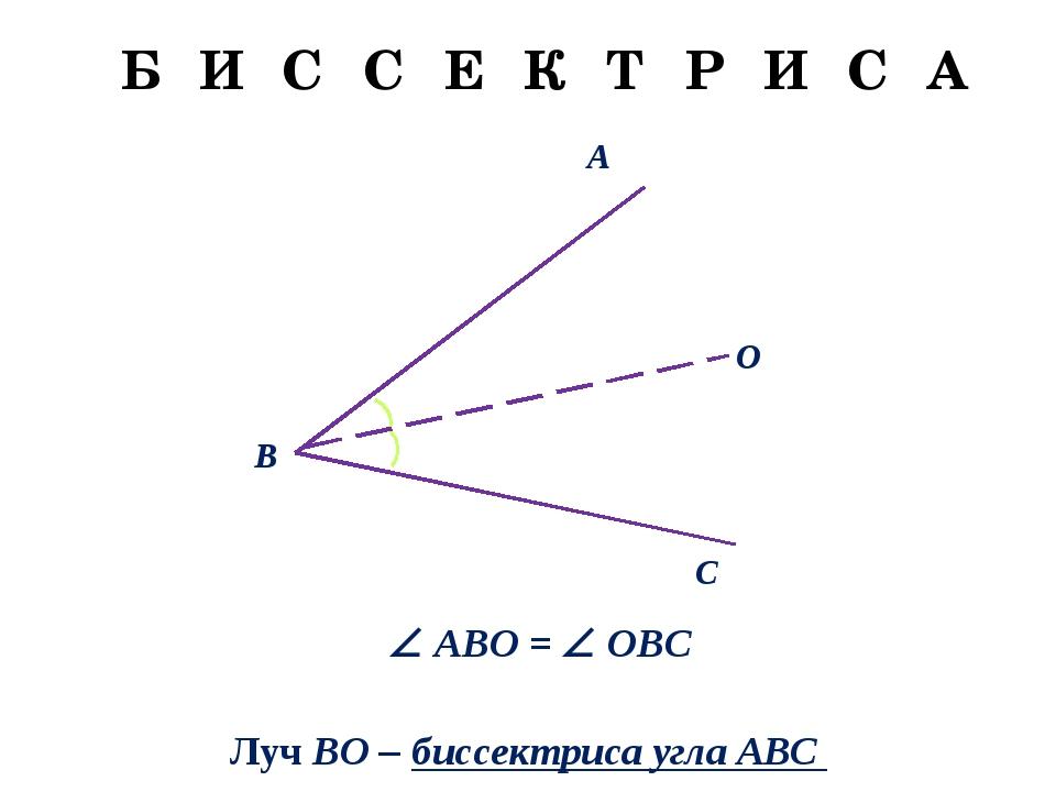 A C O B  ABO =  OBC Луч BO – биссектриса угла АВС Б И С С Е К Т Р И С А