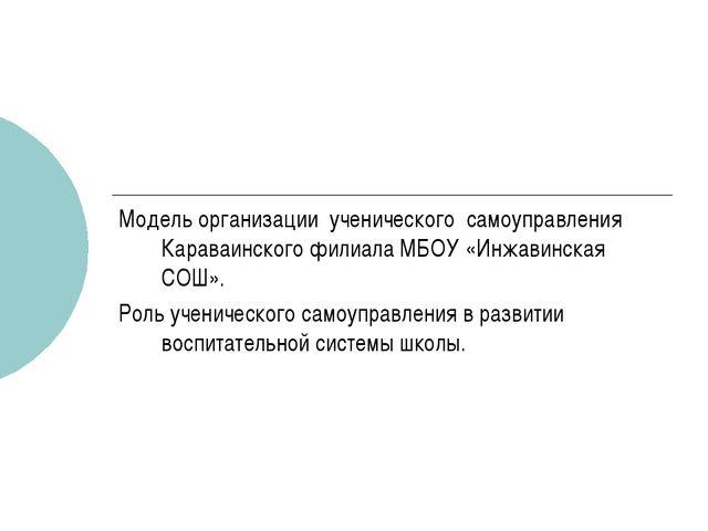 Модель организации ученического самоуправления Караваинского филиала МБОУ «Ин...
