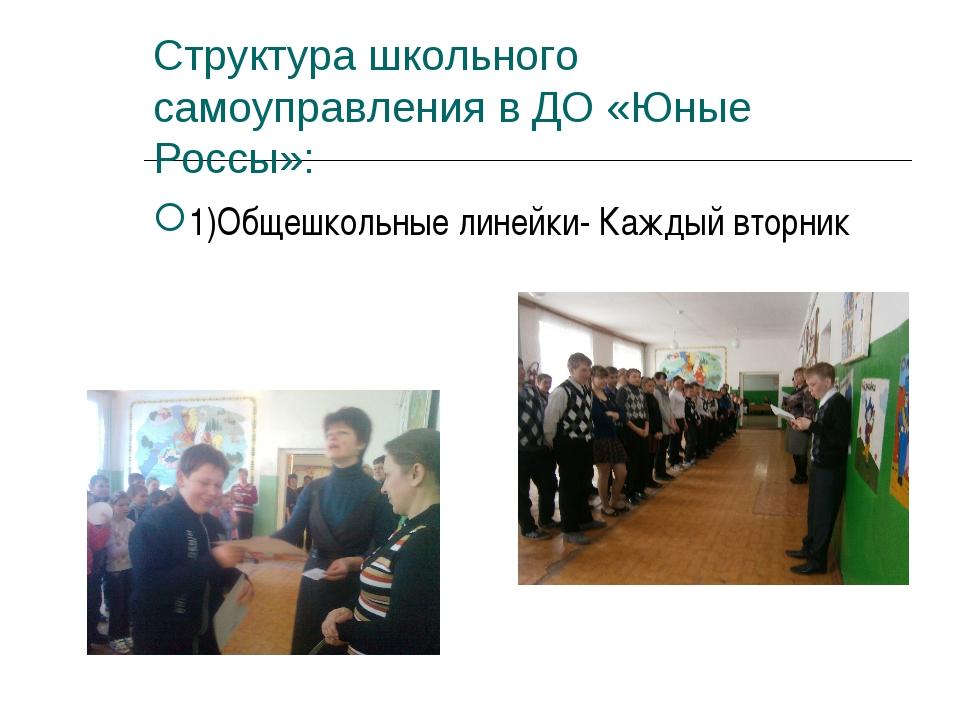 Структура школьного самоуправления в ДО «Юные Россы»: 1)Общешкольные линейки-...