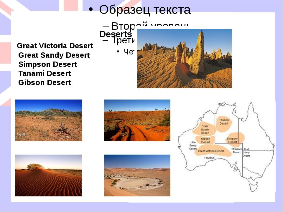 Deserts Great Victoria Desert Great Sandy Desert Simpson Desert Tanami Deser...