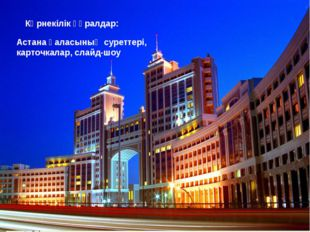 Көрнекілік құралдар: Астана қаласының суреттері, карточкалар, слайд-шоу