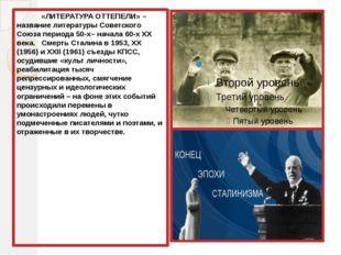 «ЛИТЕРАТУРА ОТТЕПЕЛИ» – название литературы Советского Союза периода 50-х– н