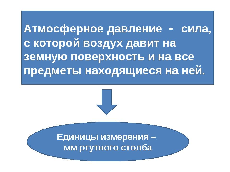 Атмосферное давление - сила, с которой воздух давит на земную поверхность и н...