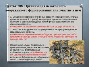 Статья 208. Организация незаконного вооруженного формирования или участие в н