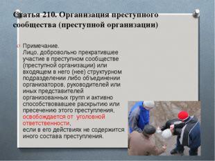 Статья 210. Организация преступного сообщества (преступной организации) Приме