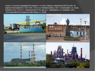 Сразу4 тульских предприятиявходят в «Сотню главных загрязнителей России» по