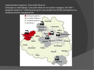 Загрязнение воздуха в Тульской области. Ежегодно в атмосферу Тульской области