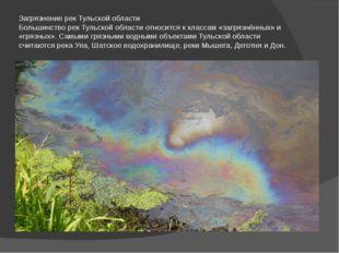 Загрязнение рек Тульской области Большинство рек Тульской области относится к
